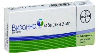Прием гормонального препарата Визанна
